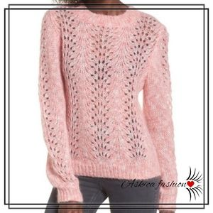 TOPSHOP Strawberry Cream Open Knit Sweater